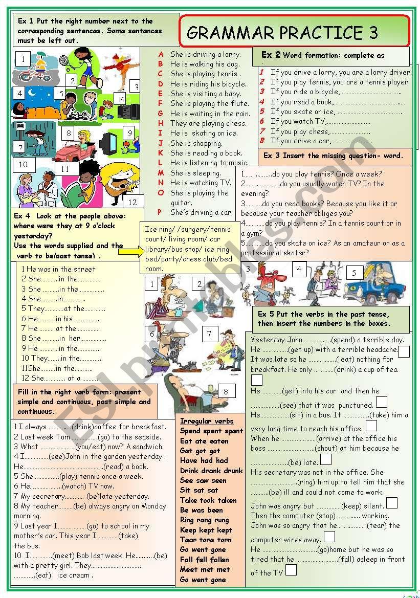 Grammar practice 3 worksheet