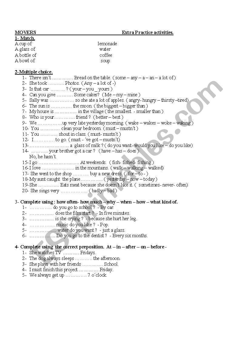 Movers. Worksheet worksheet