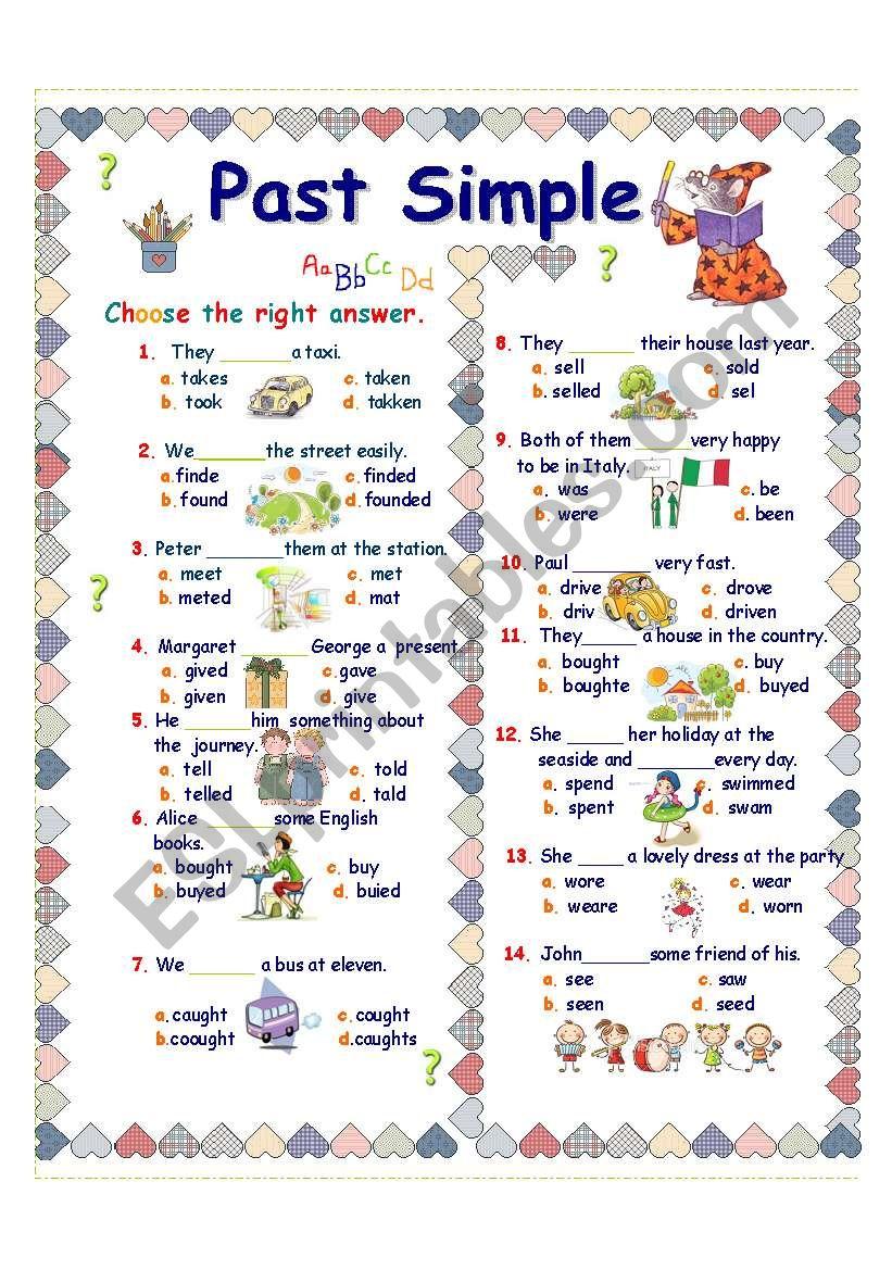 English Worksheets Past Simple Irregular Verbs
