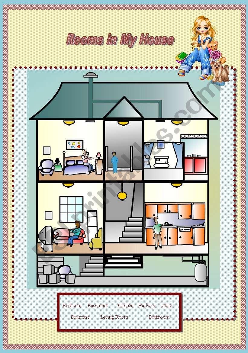 House Rooms Worksheet: ESL Worksheet By Kohaku