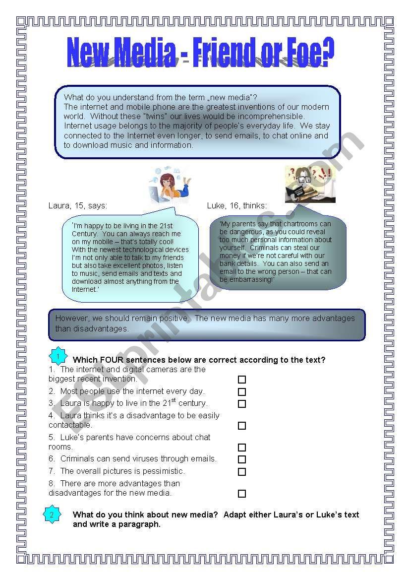 New Media - Friend or Foe? - ESL worksheet by pepelie