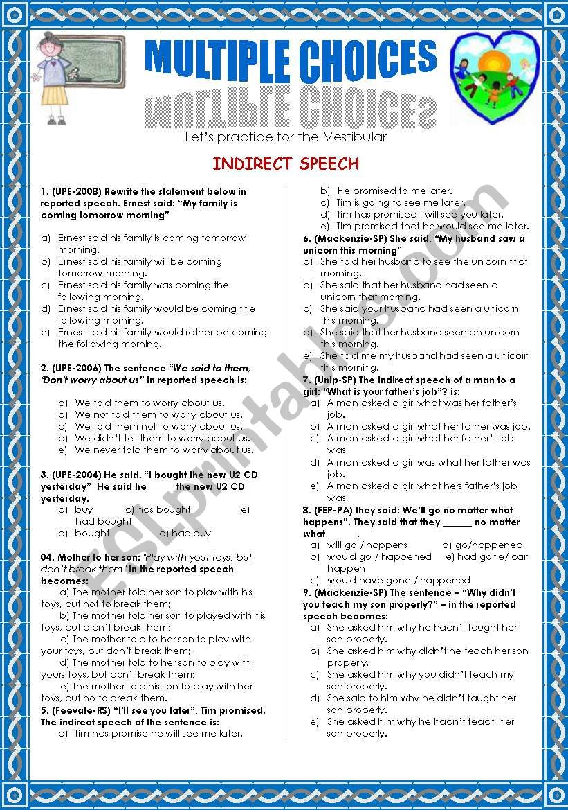 INDIRECT SPEECH-MULTIPLE CHOICE