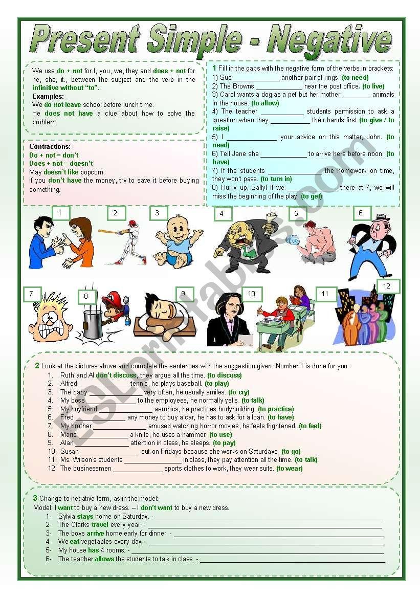 Present Simple - Negative worksheet