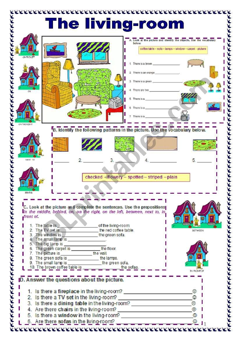 English worksheets: The living-room (04.07.09)