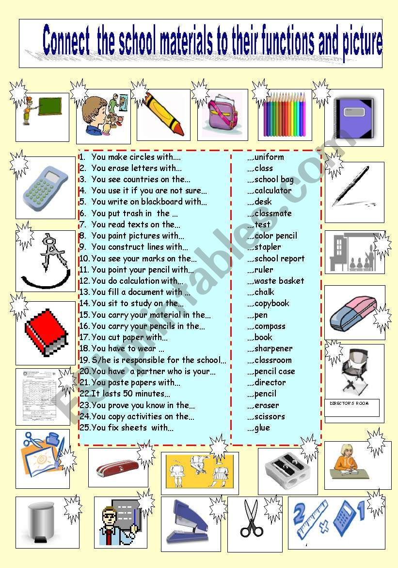 Match school materials to their functions