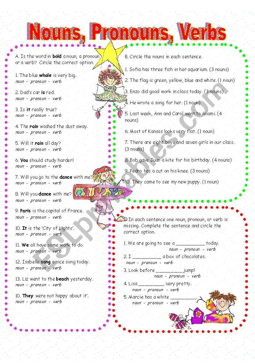 Nouns, Pronouns, and Verbs worksheet