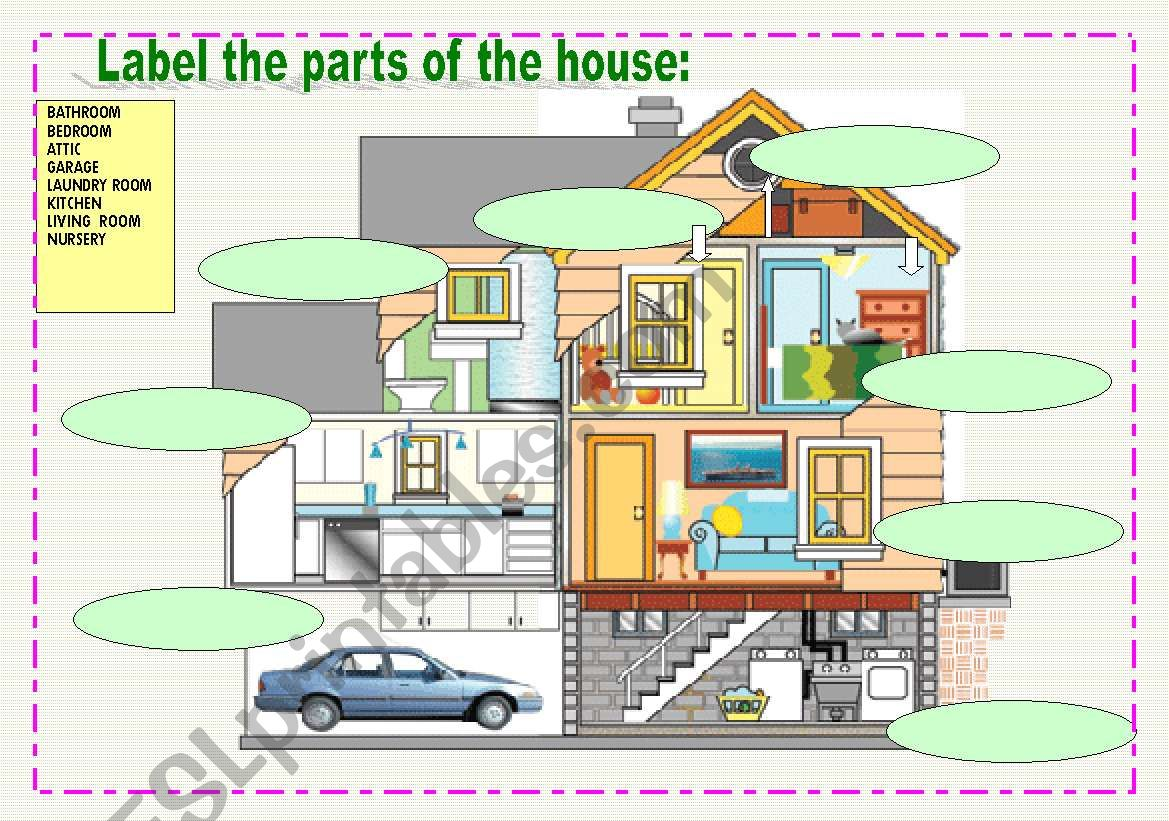 Label the rooms in the house - ESL worksheet by ilona