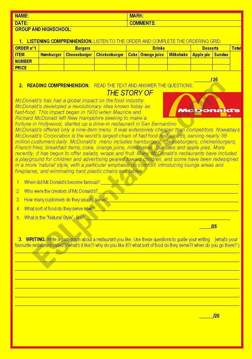 Mc donald´s and fast food test - ESL worksheet by laurarosano