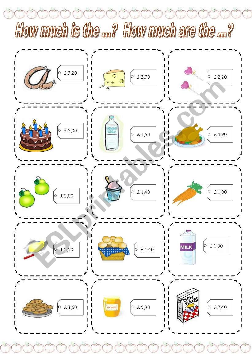 How much is the ...? How much are the ...? GAME (2) (3 PAGES)