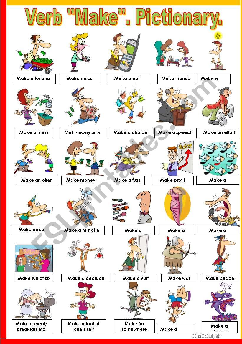 VERB ´MAKE´. PICTIONARY. worksheet