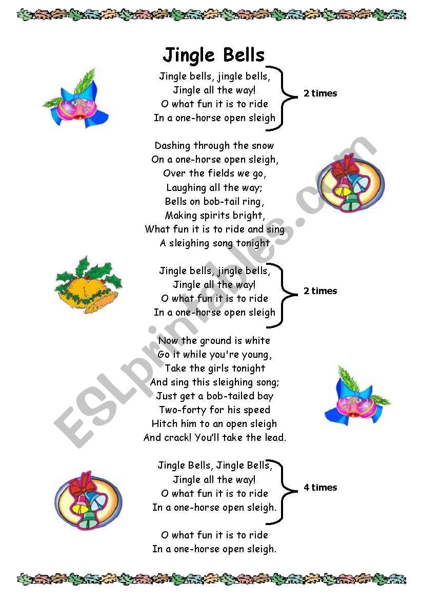 image relating to Jingle Bells Lyrics Printable called English worksheets: Jingle Bells lyrics
