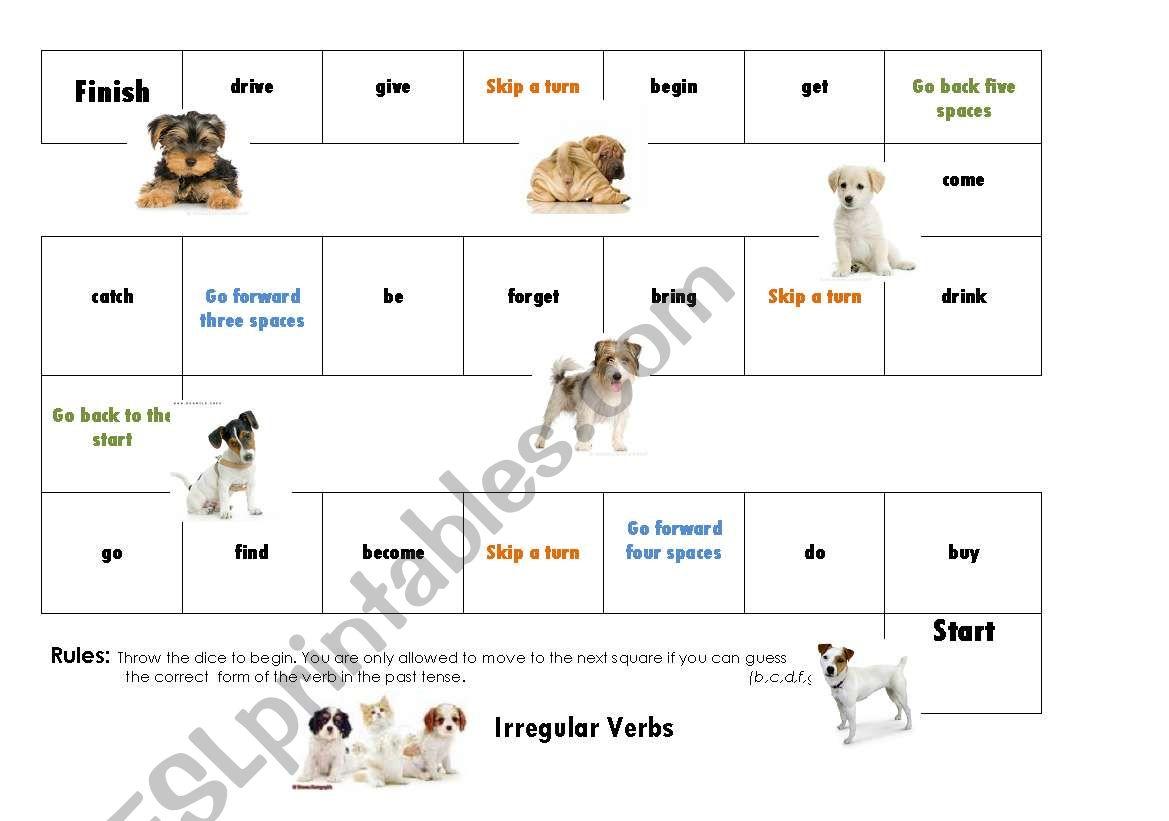 Irregular Verb Board Game 1/3 worksheet