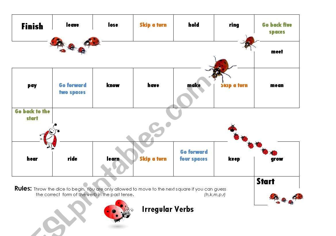 Irregular Verb Board Game 2/3 worksheet