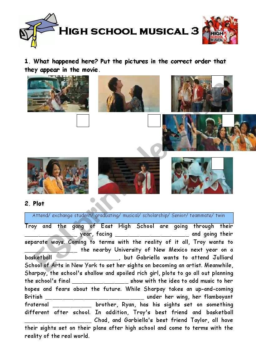 High school musical 3 worksheet