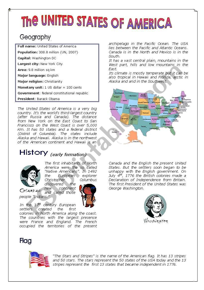 The United States of America worksheet