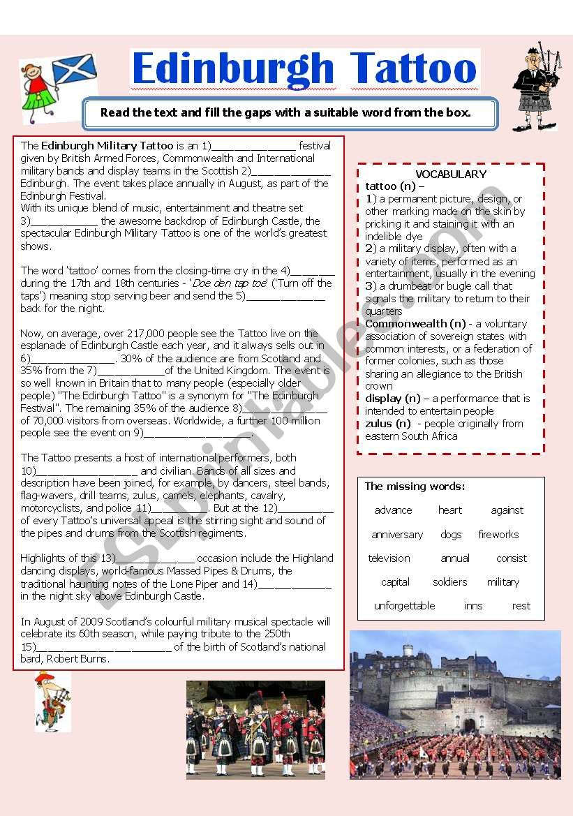 Edinburgh Tattoo worksheet