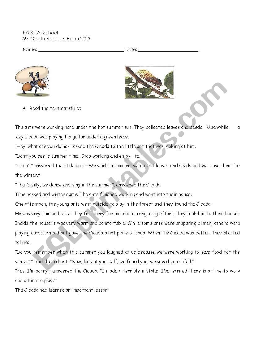 The Ant & The Cicada R: COMP. & some use of english exercises