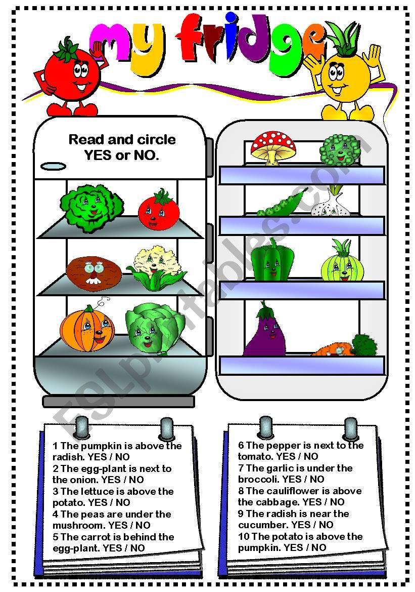 My fridge (vegetables) worksheet