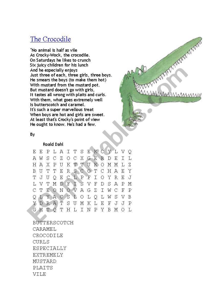 The Crocodile Poem By Roald Dahl Esl Worksheet By Barnhead