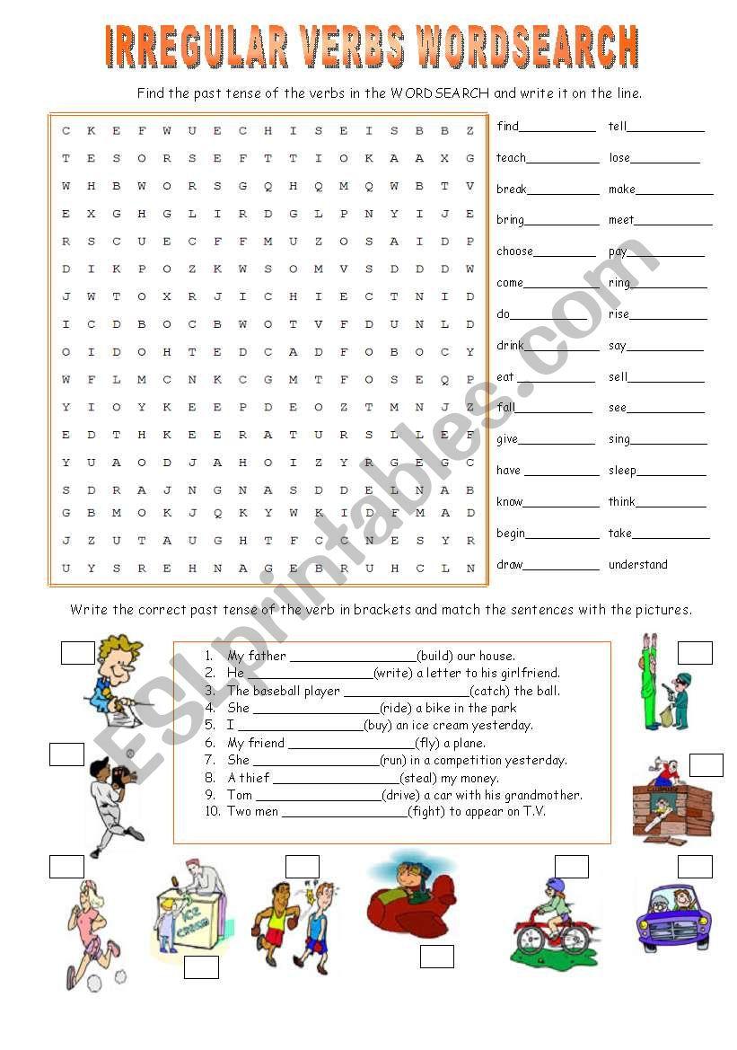 IRREGULAR VERBS WORDSEARCH worksheet
