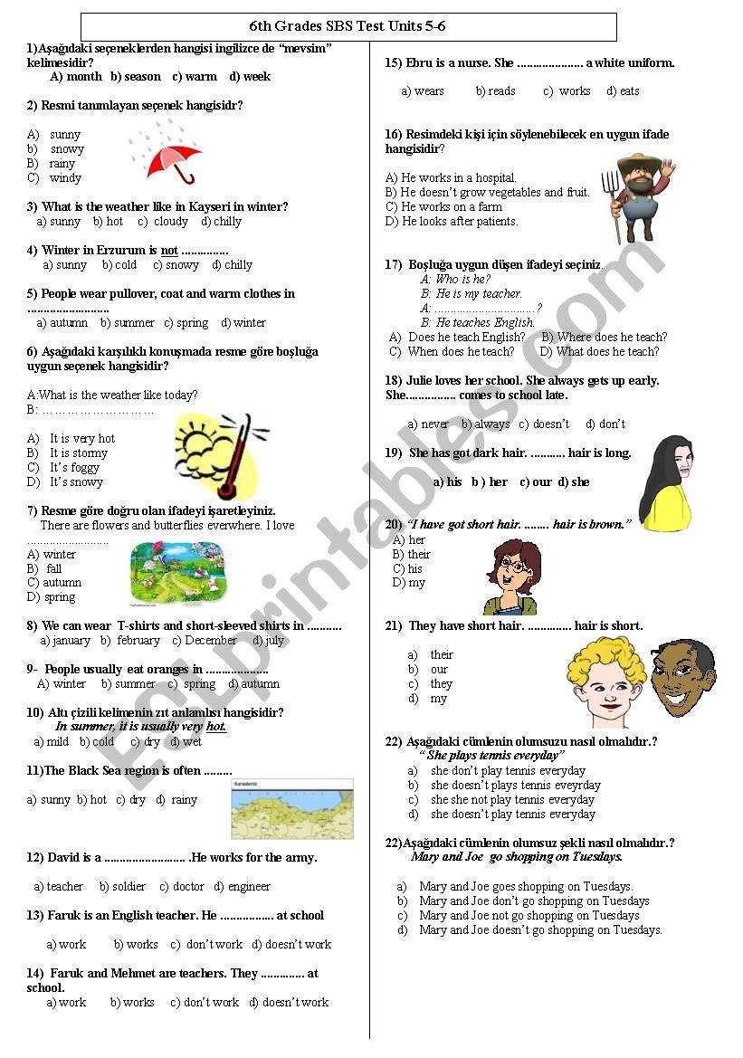 test for sbs worksheet