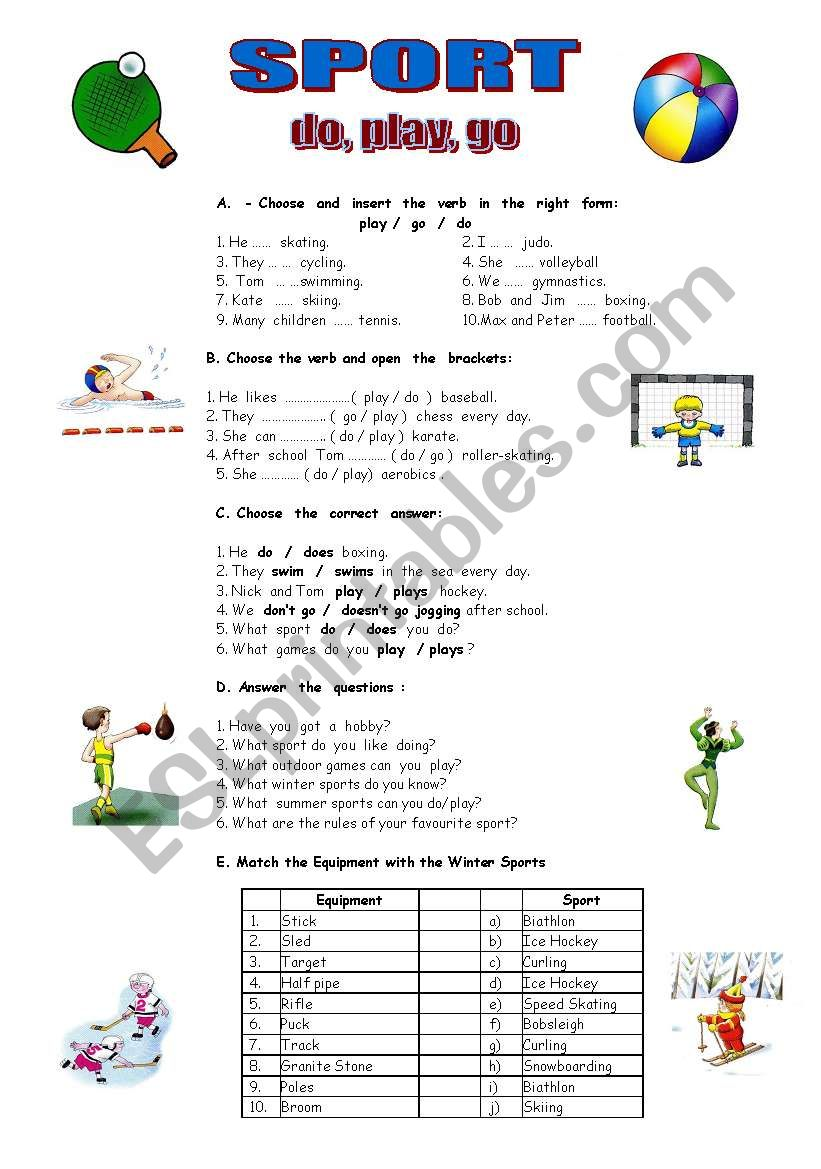 sport do go play esl worksheet by lianam. Black Bedroom Furniture Sets. Home Design Ideas