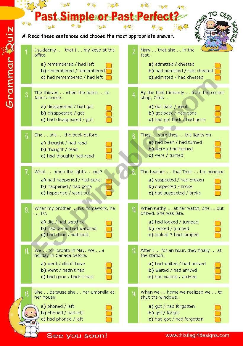 Grammar Quiz series (3)  -  Past Simple or Past Perfect?