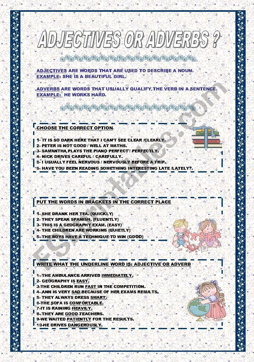 Adjectives Or Adverbs Esl Worksheet By Ag23