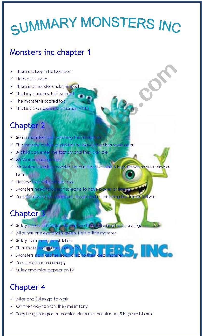 MONSTERS INC SUMMARY - ESL worksheet by loralaura77