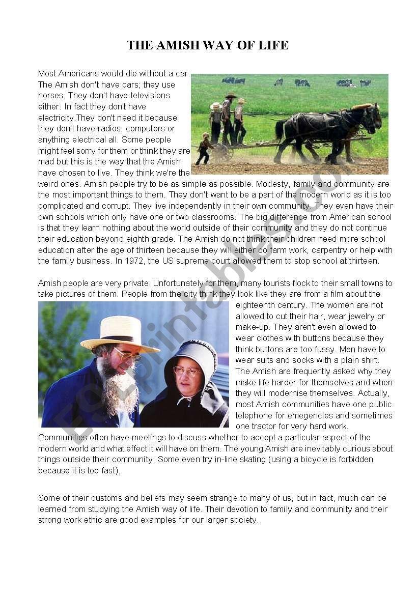 The Amish Way of Life worksheet