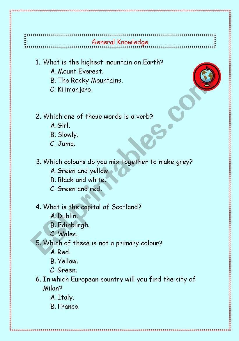 General Knowledge - ESL worksheet by dasaan