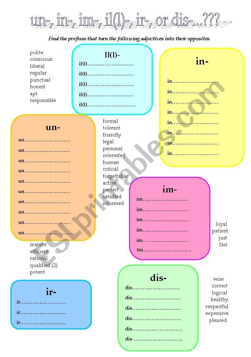 Un-, in-, im-, il(l)-, ir-, or dis-...? Negative prefixes for adjectives