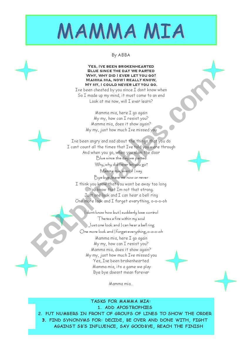 English Worksheets Mamma Mia Lyrics Worksheet