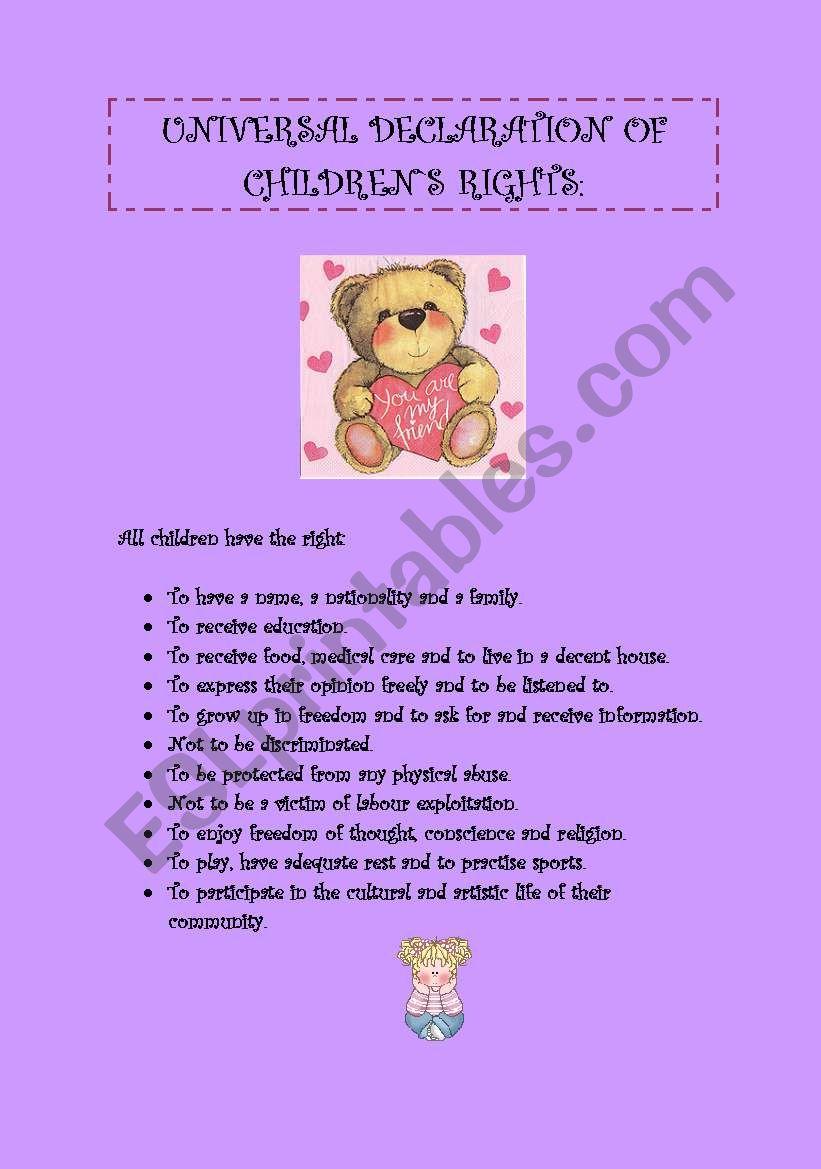 UNIVERSAL DECLARATION OF CHILDREN`S RIGHTS