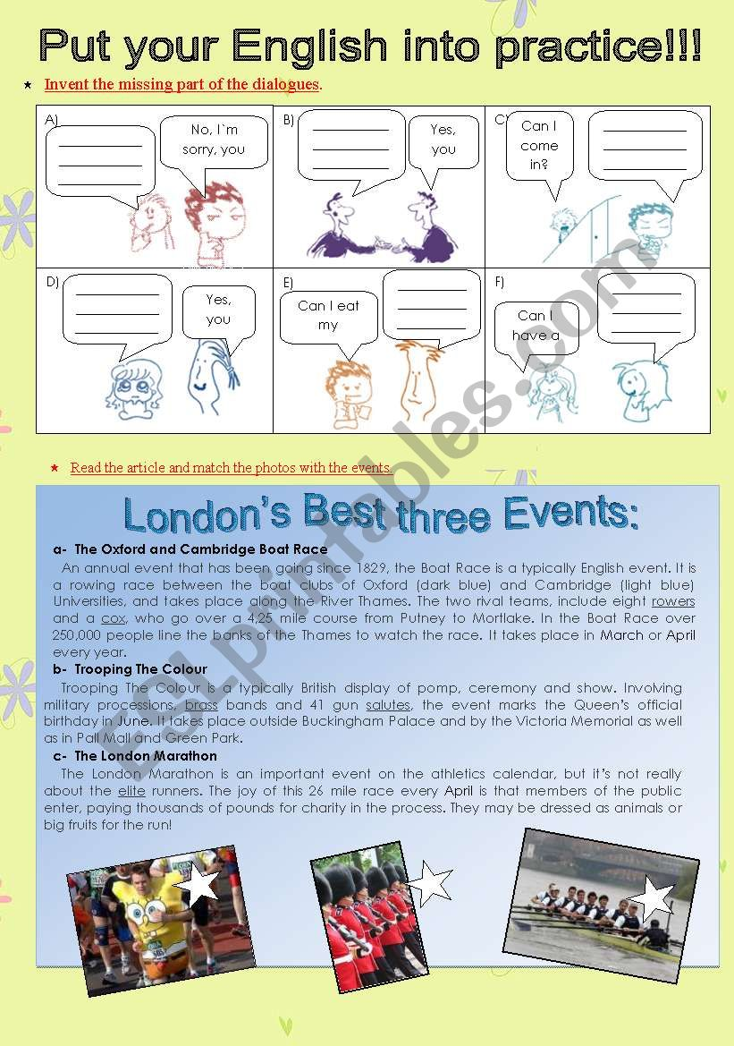 Can/can´t, Reading Comprehension about London´s festivals