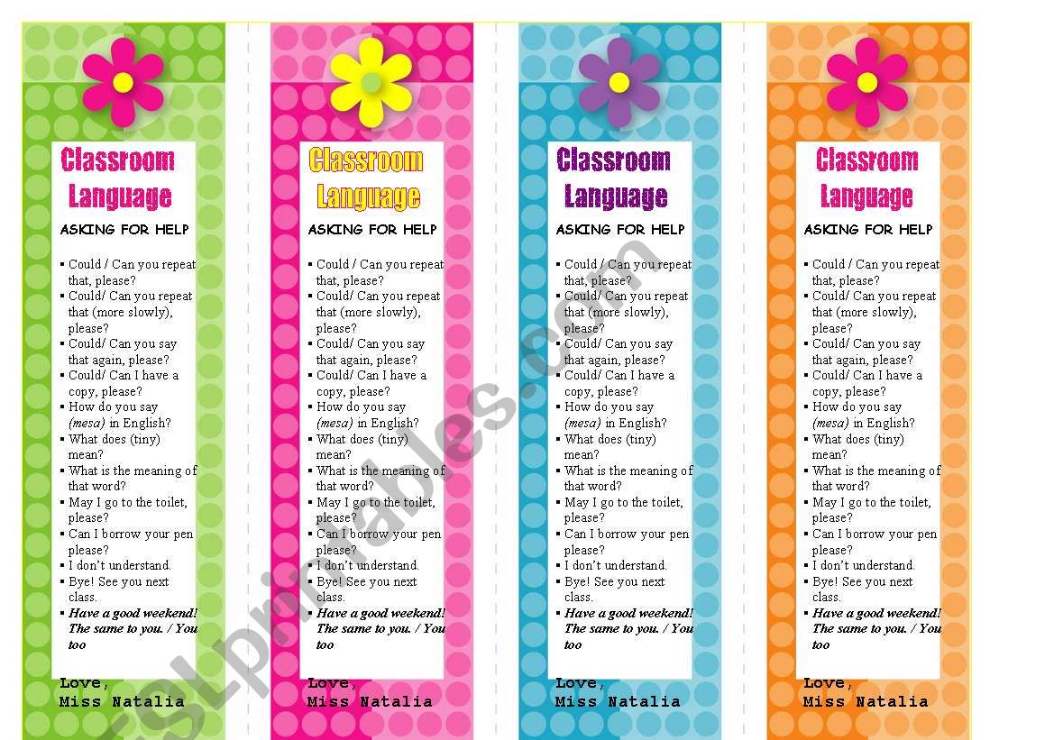 Classroom Language Bookmarks worksheet