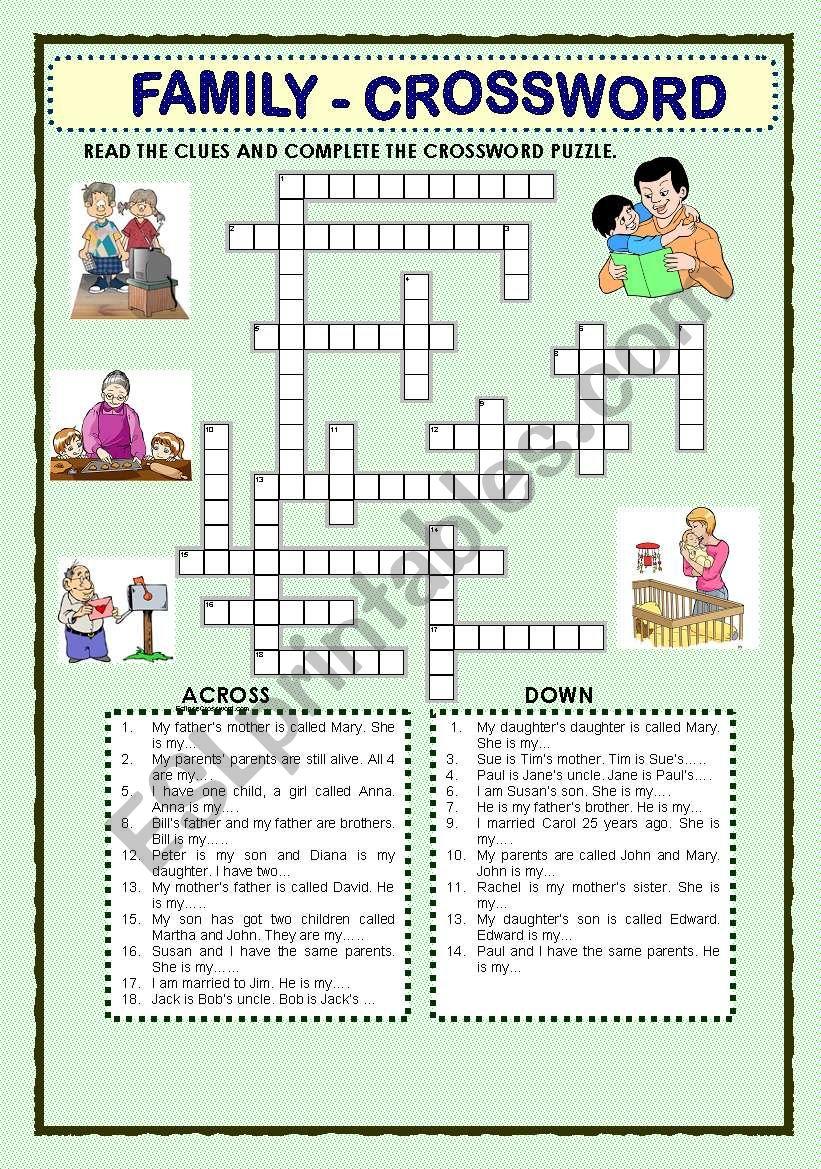 FAMILY  - CROSSWORD worksheet