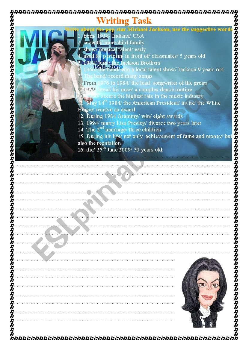 Write about The Pop lengend Michael Jackson