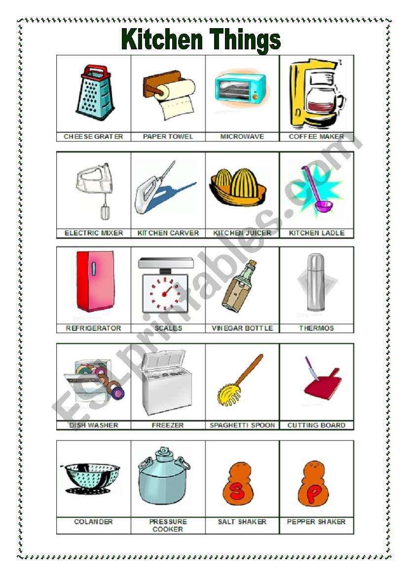 Kitchen Things 2 10 07 09 Esl Worksheet By Manuelanunes3