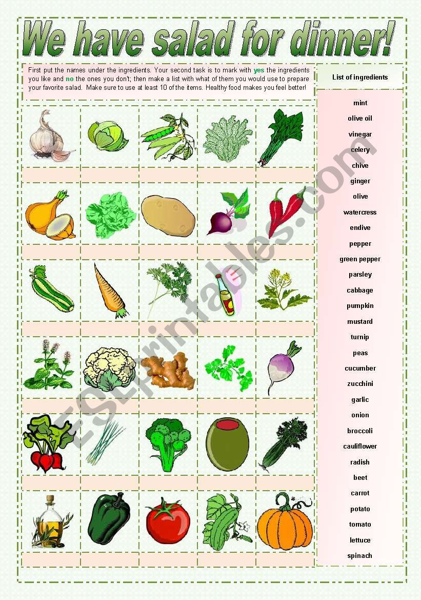 We have salad for dinner! - pictionary and tasks for elementary, keys and suggested tasks for high intermediate and low advanced