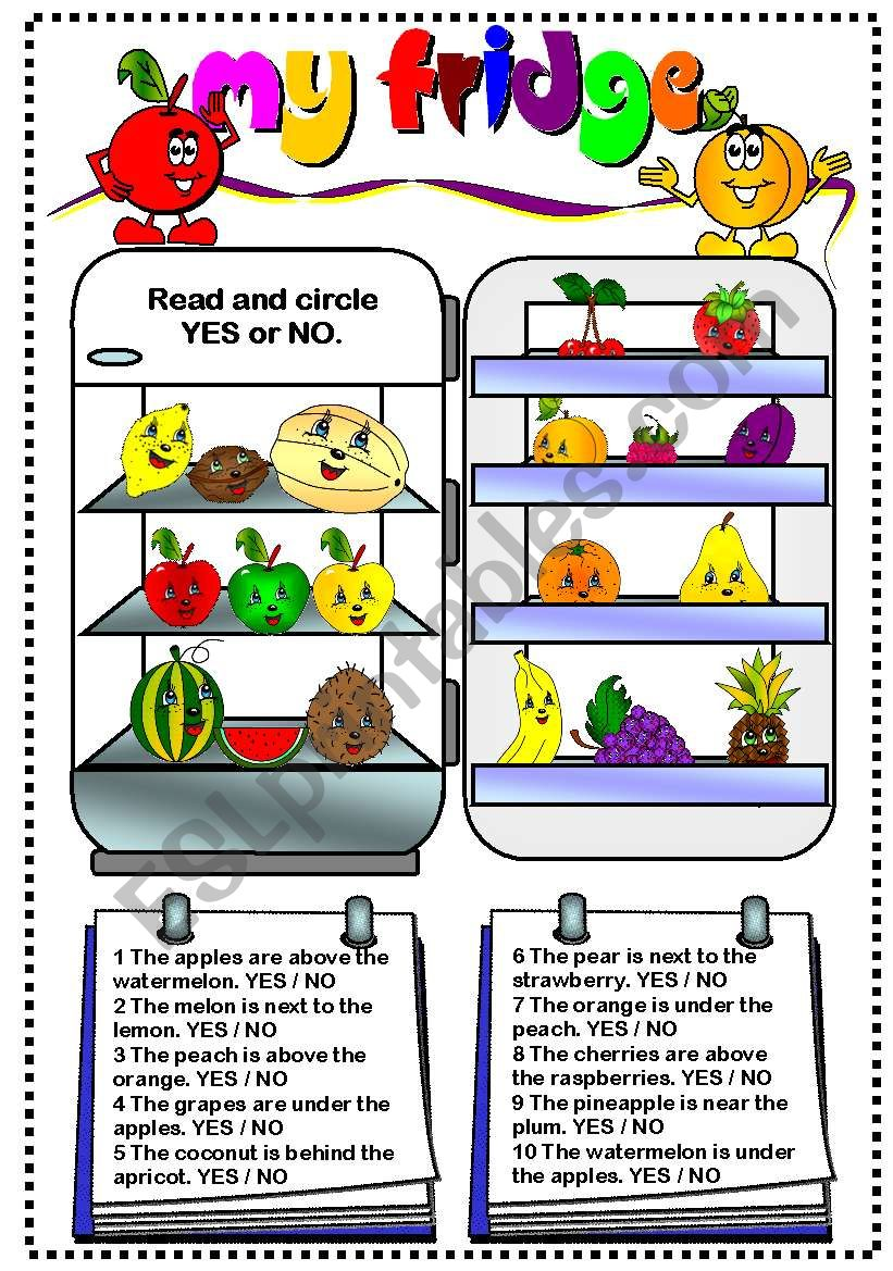 My fridge (fruit) worksheet