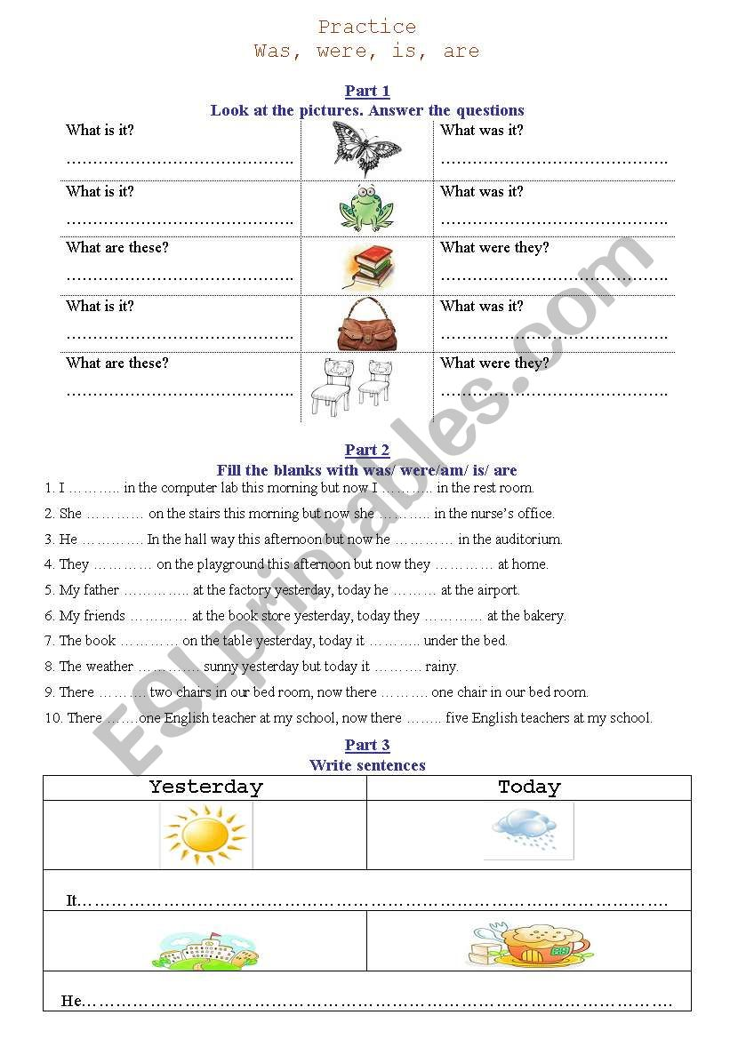 Was/ were/ is/ are worksheet