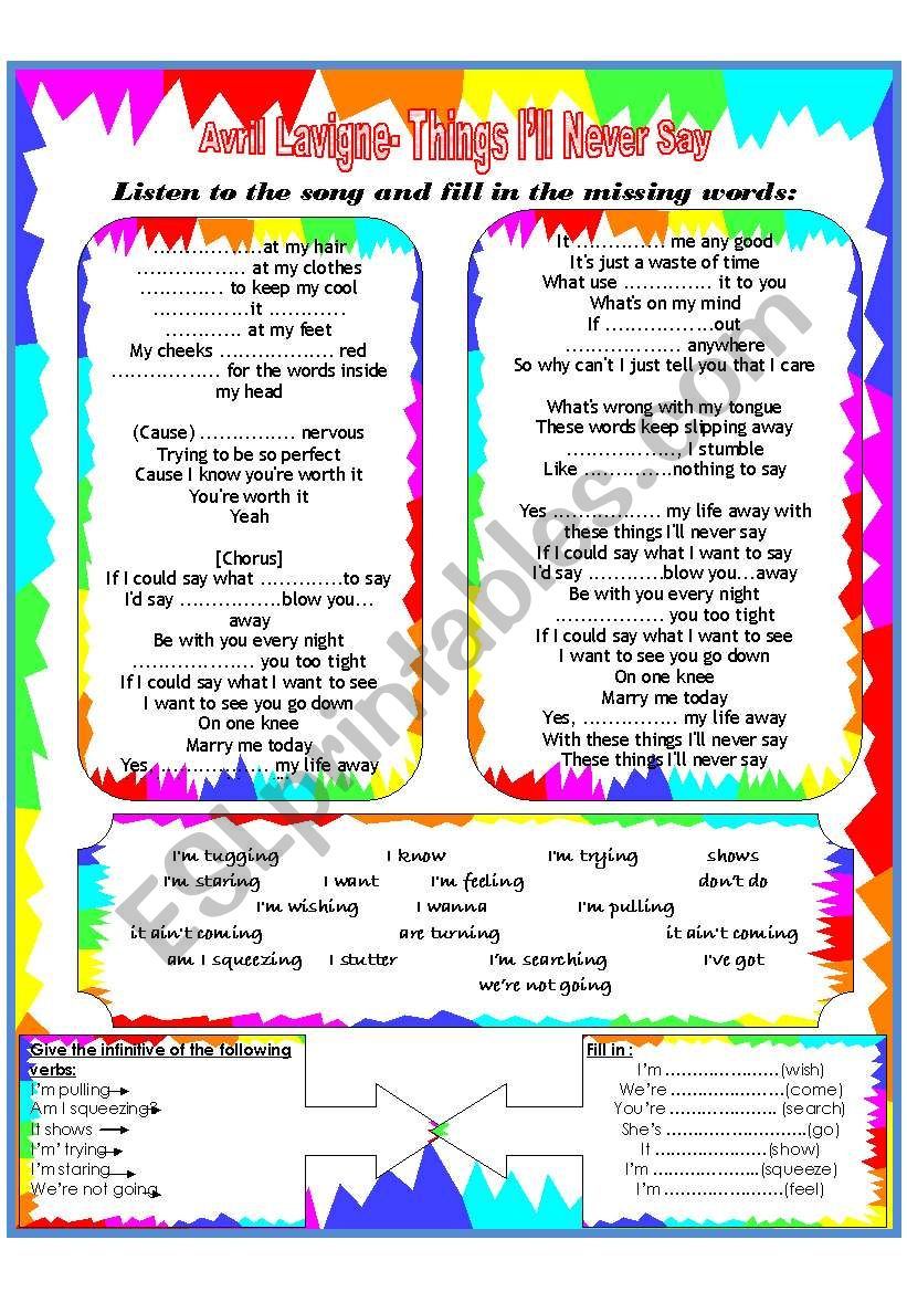 Song Worksheet Present Simple And Continuos Esl Worksheet By