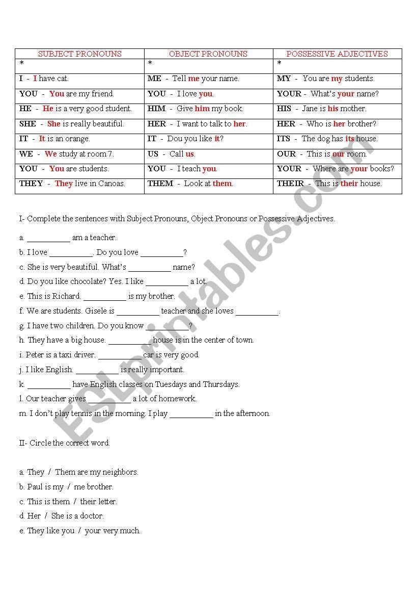 Subject Pronouns, Object Pronouns and Possessive Adjectives