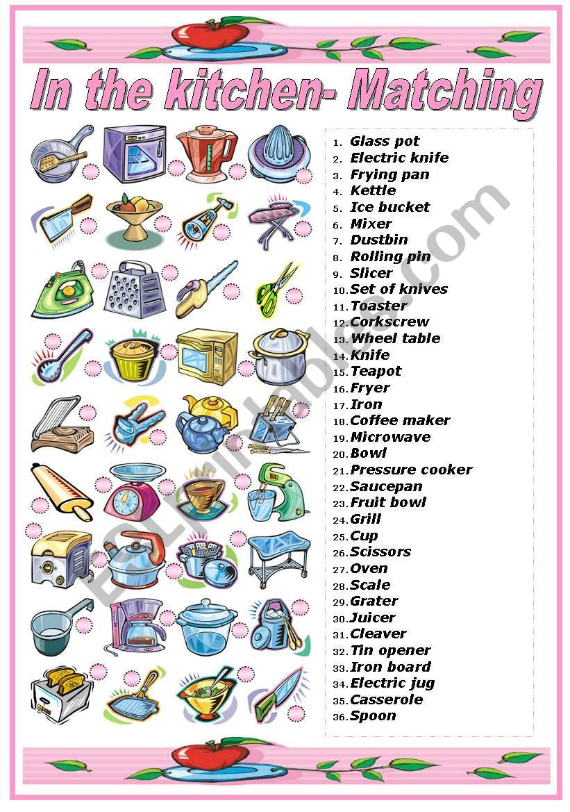 English worksheets: IN THE KITCHEN- UTENSILS AND APPLIANCES ...