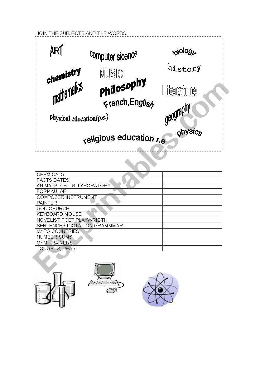 english worksheets subjets
