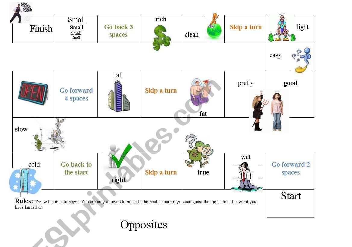 Board Game of Opposites 1 worksheet
