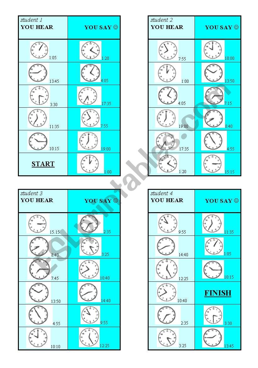 2 Time GAMEs + Present Simple - Past Continuous - 22 clocks, 2 GAMES  ((4 pages + BW printer friendly))