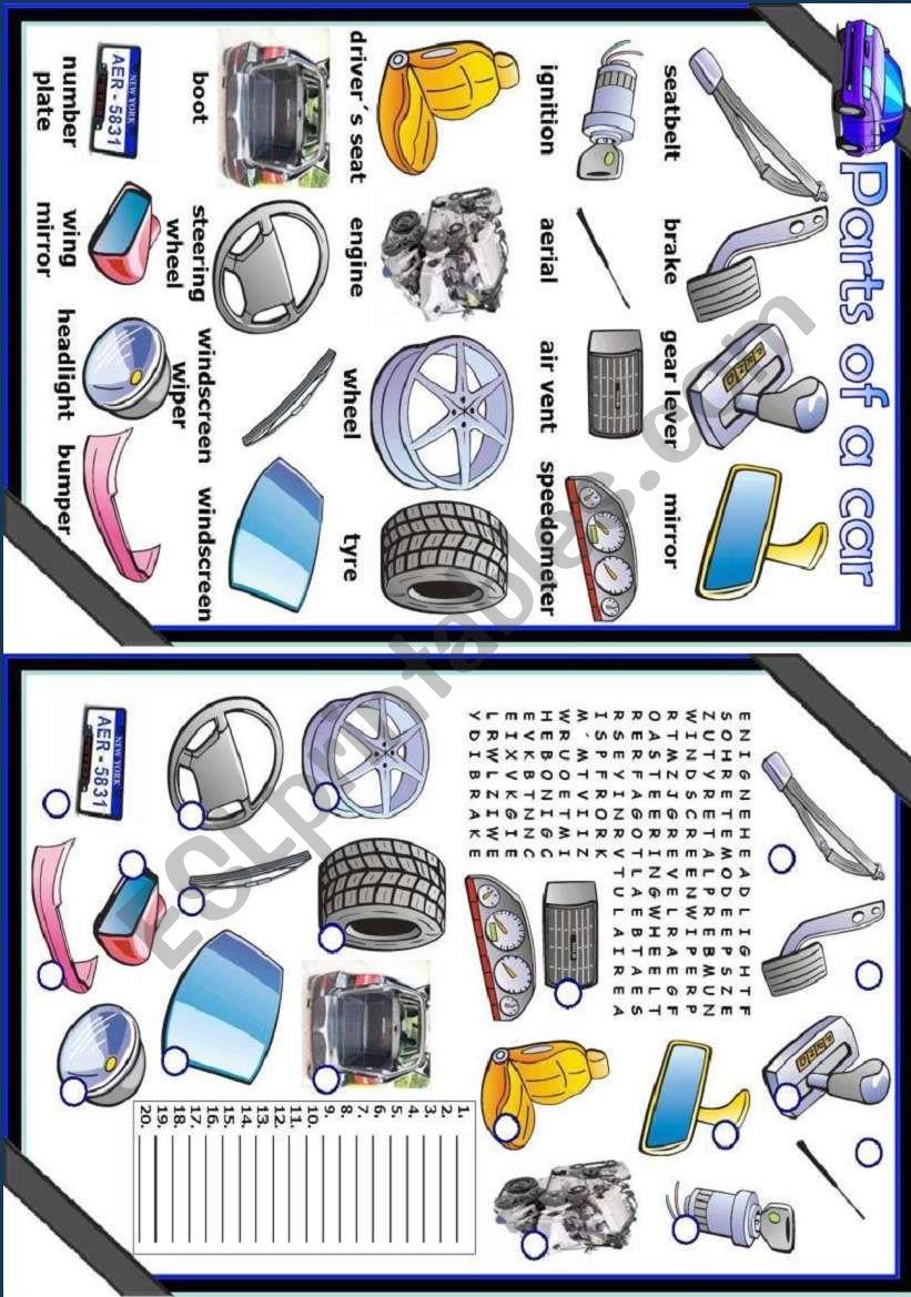 Parts of a car worksheet