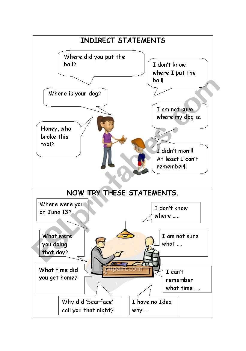 INDIRECT STATEMENTS - PART 1 worksheet